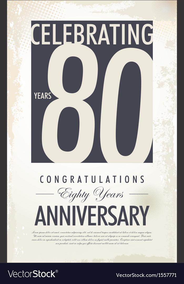 80 years anniversary retro background vector image