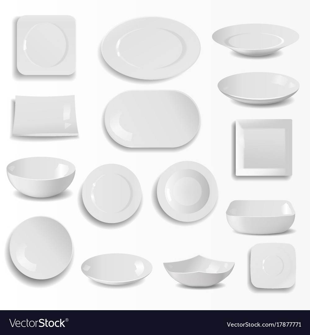 Blank Ceramic Plates Set Realistic Kitchen Dishes Vector Image