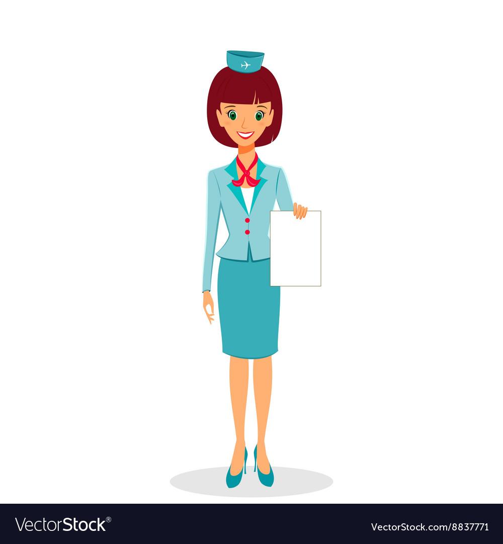 Cartoon flight attendant in uniform holding blank
