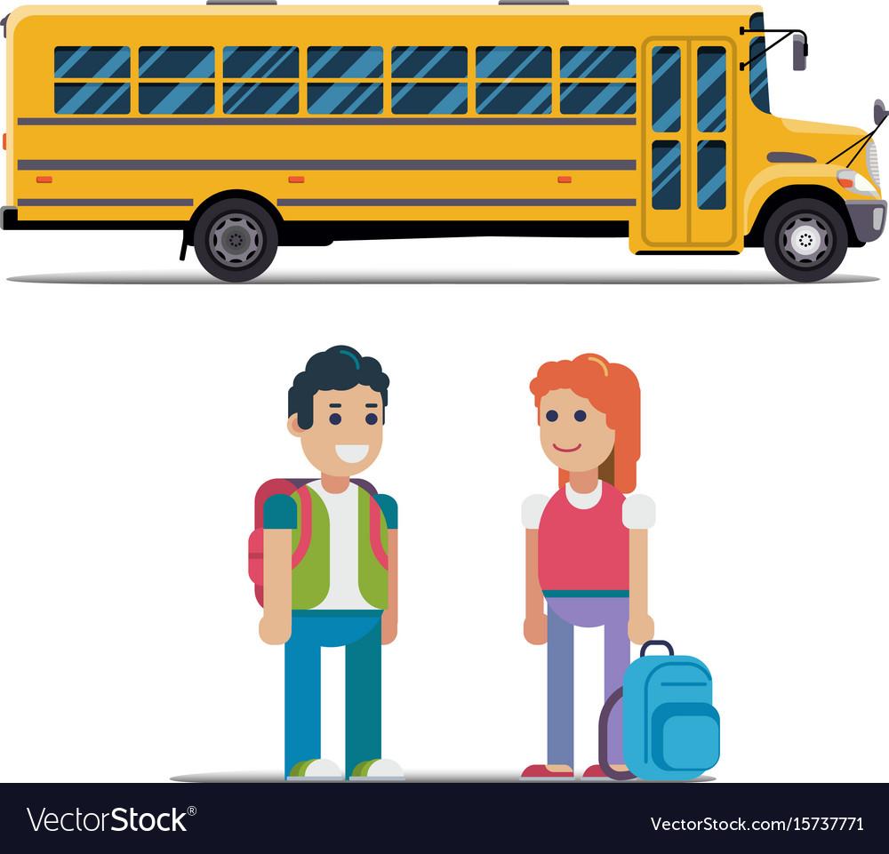 Children get on school bus flat