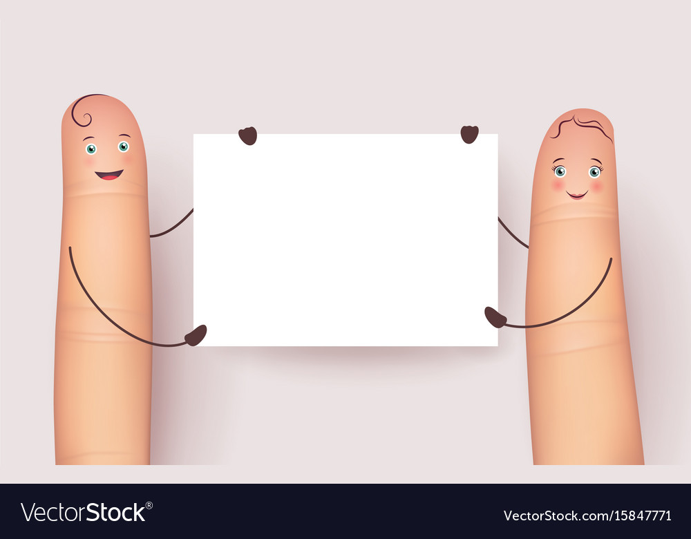 Fingers with blank white poster
