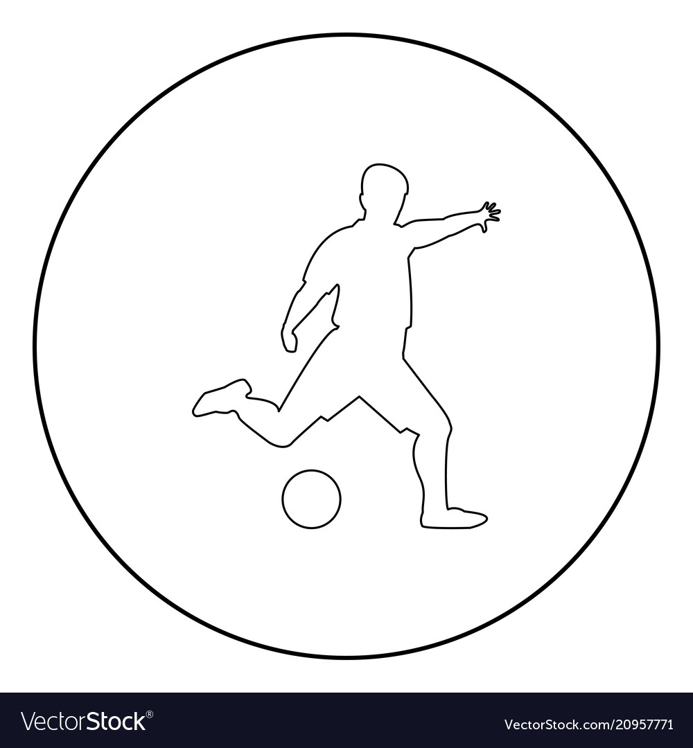 Footballer icon black color in circle