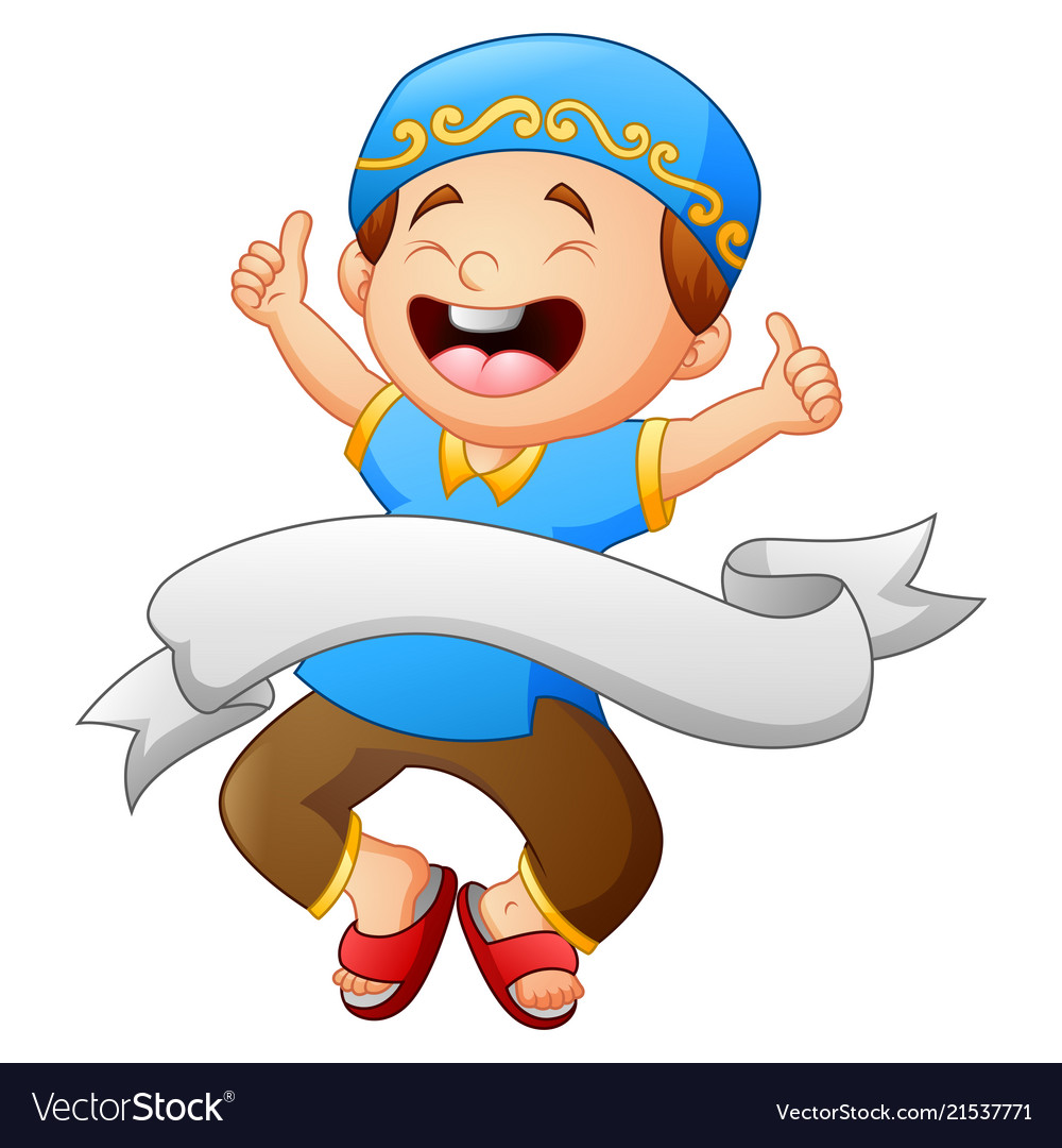 happy muslim kid giving thumb up with white ribbon vectorstock