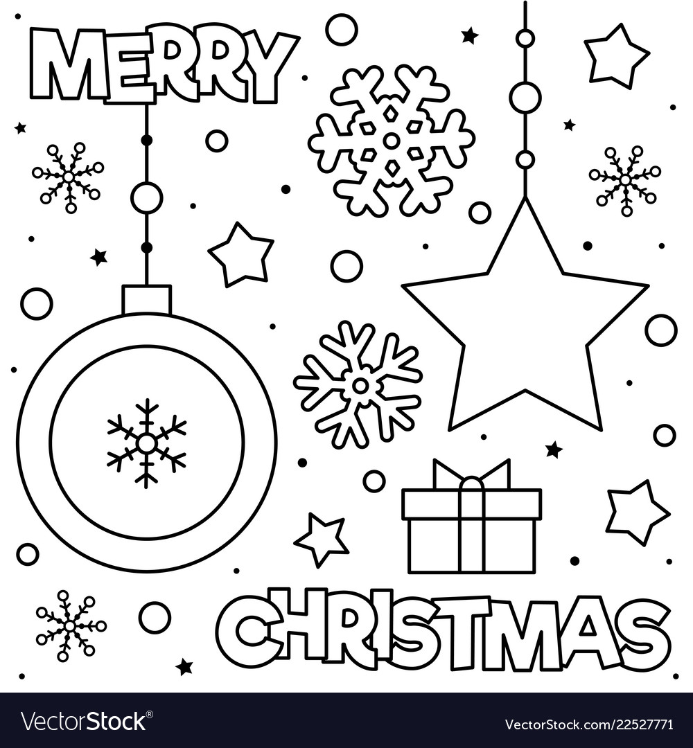 Merry Christmas Coloring Page Black And White