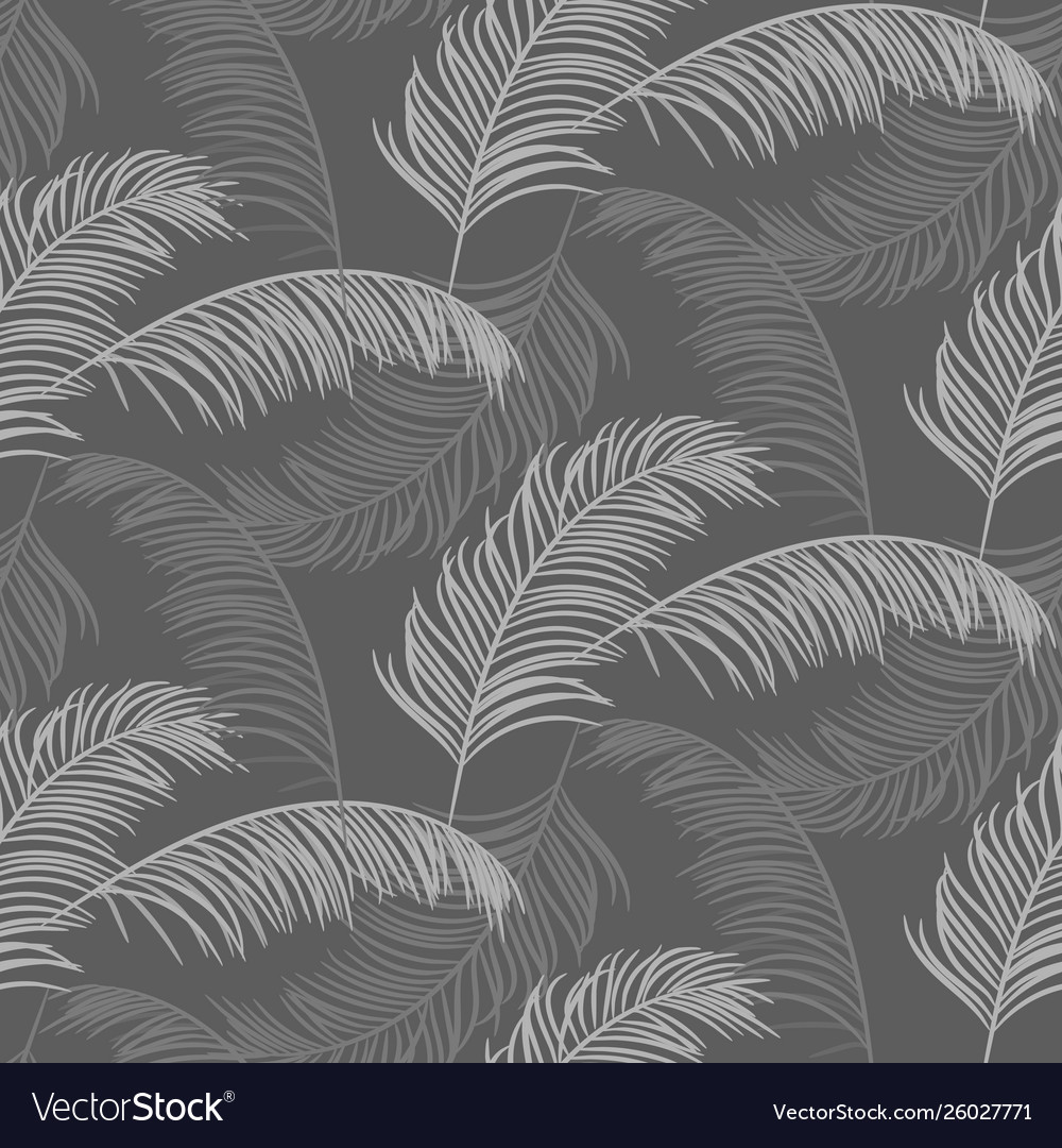 Palm leaves seamless pattern design gray