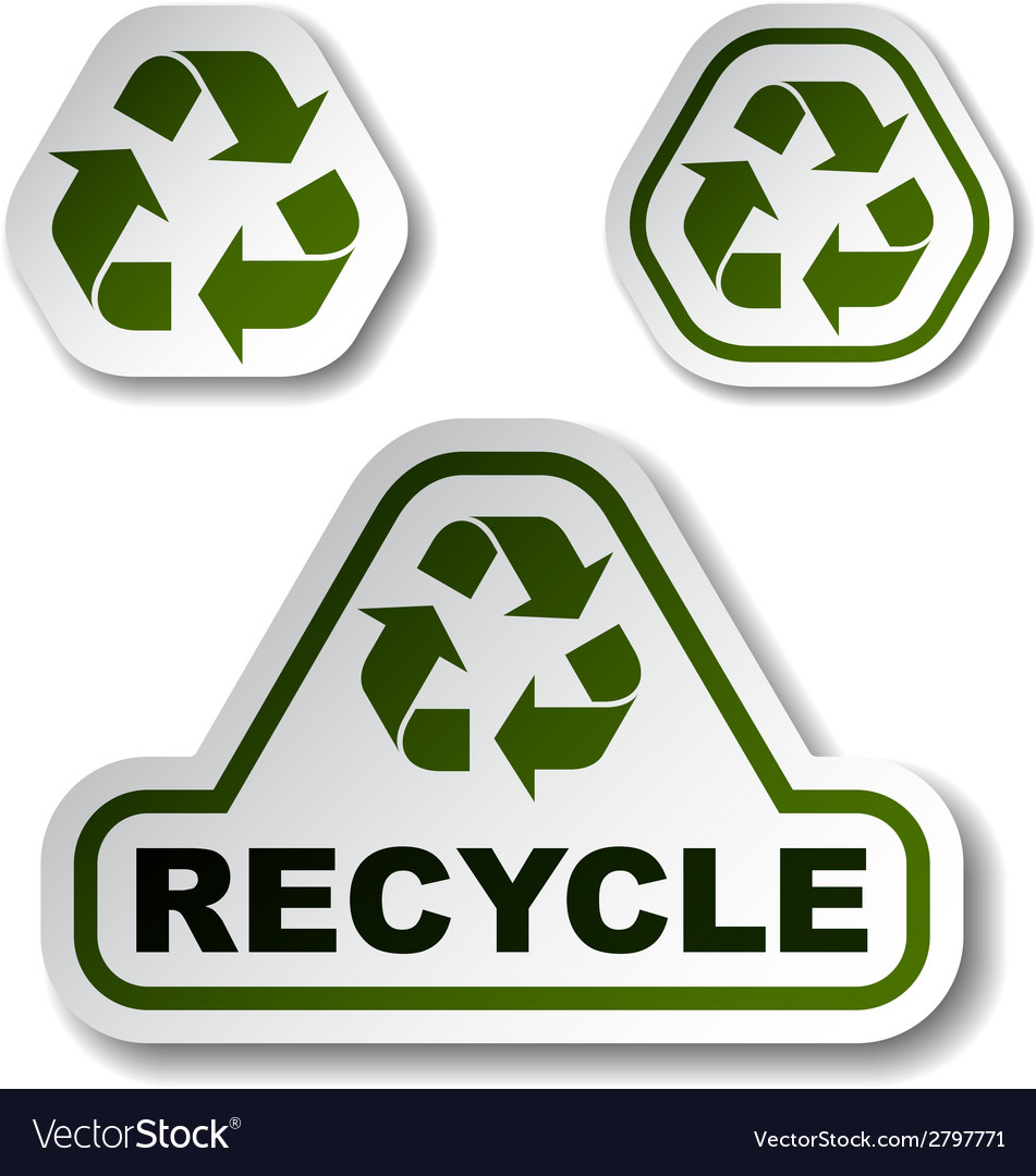 Recycle Green Arrow Stickers Royalty Free Vector Image