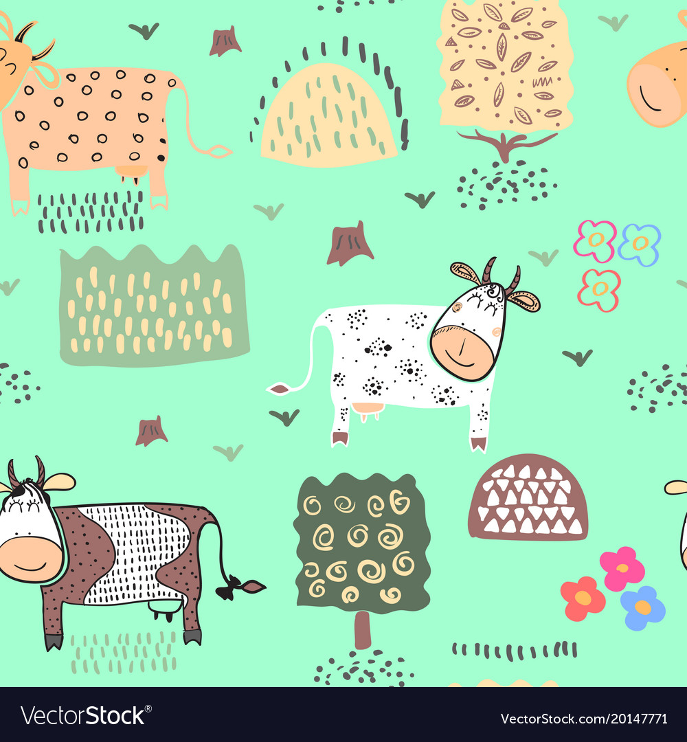 Seamless pattern background with cow vector image