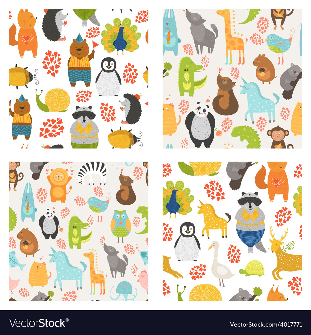 Seamless patterns with cute animals