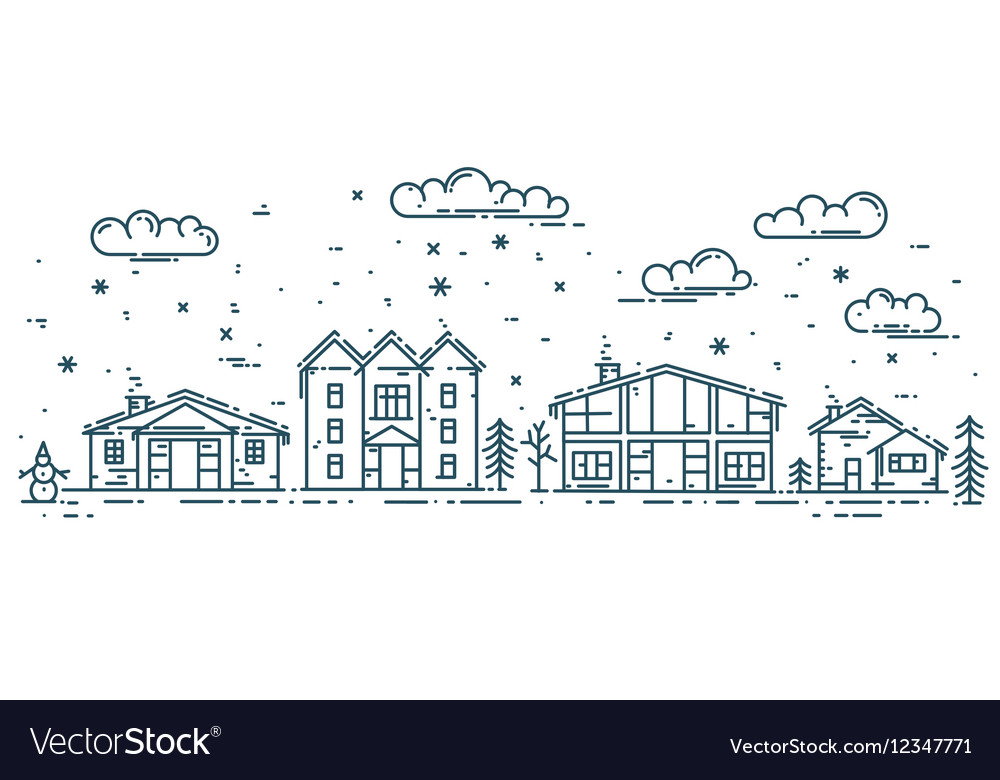 Winter Cityscape with houses
