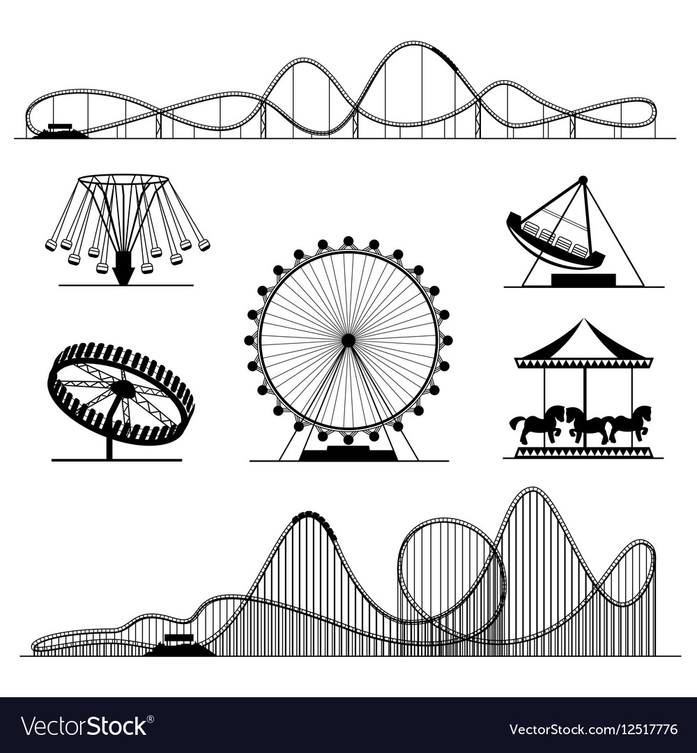 Amusement ride or luna park roller coasters vector image