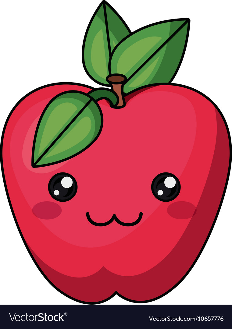 Apple kawaii. With face design