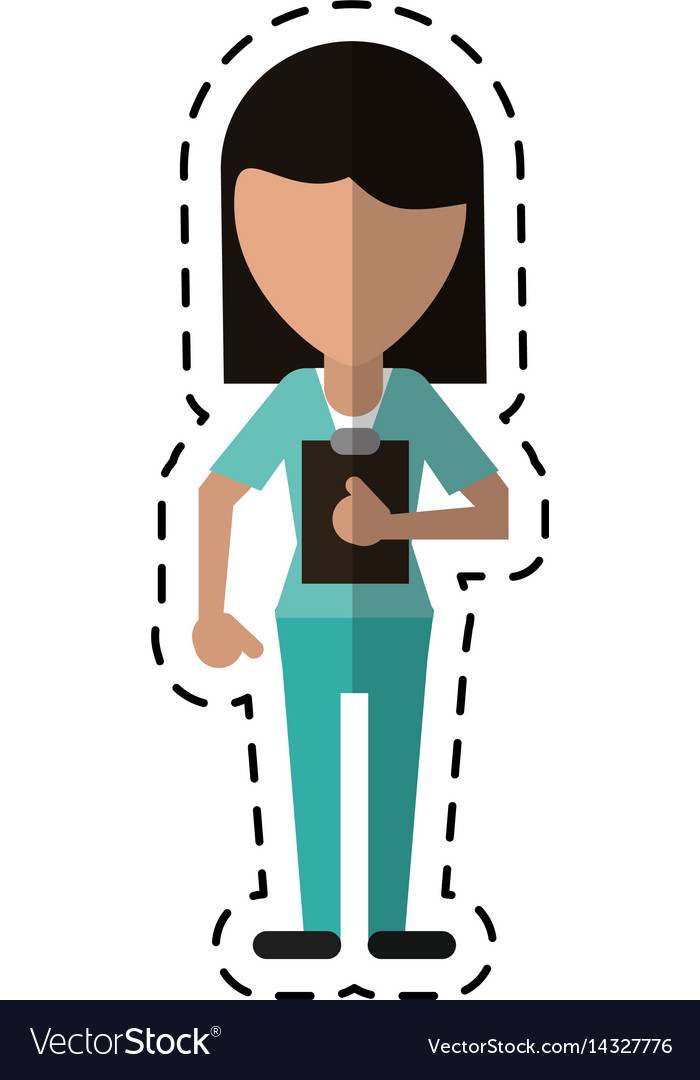 Cartoon medical staff female clipboard health vector image