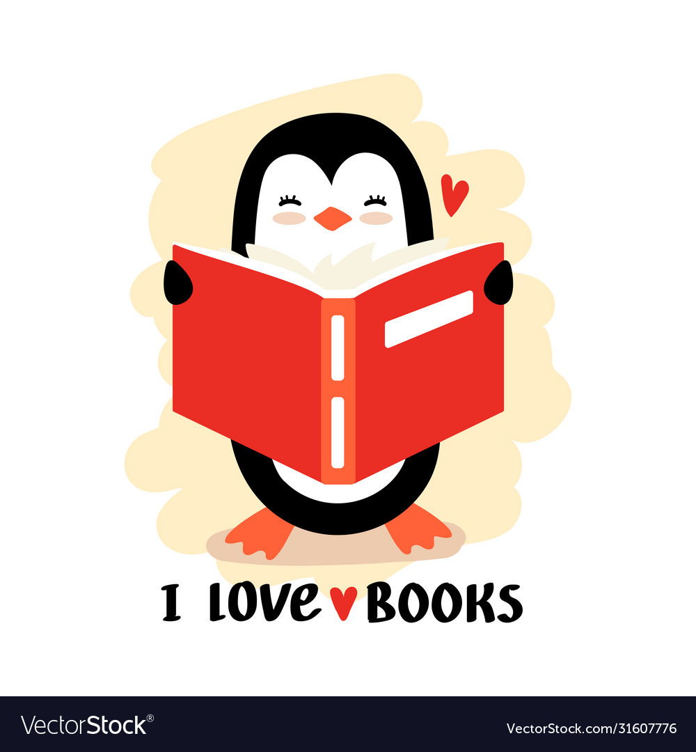 Cartoon penguin reading book