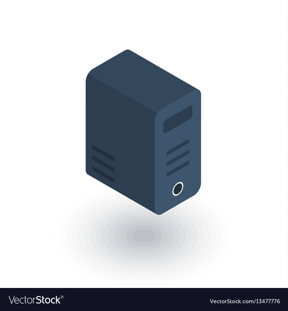 Computer system unit bloc isometric flat icon 3d