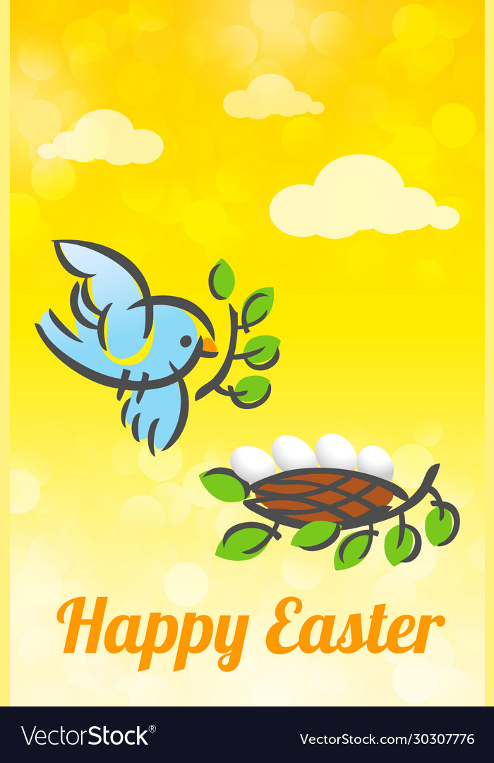 Happy easter bird and nest card