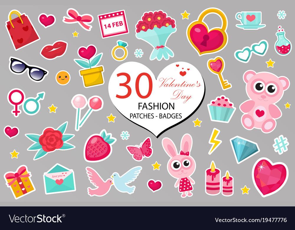 Happy valentine s day fashion icons set or