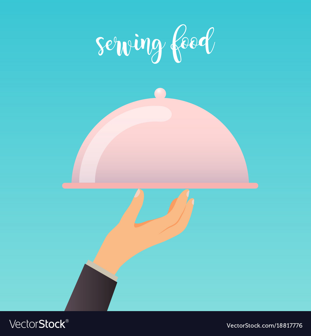 Human hand with a food serving tray flat design
