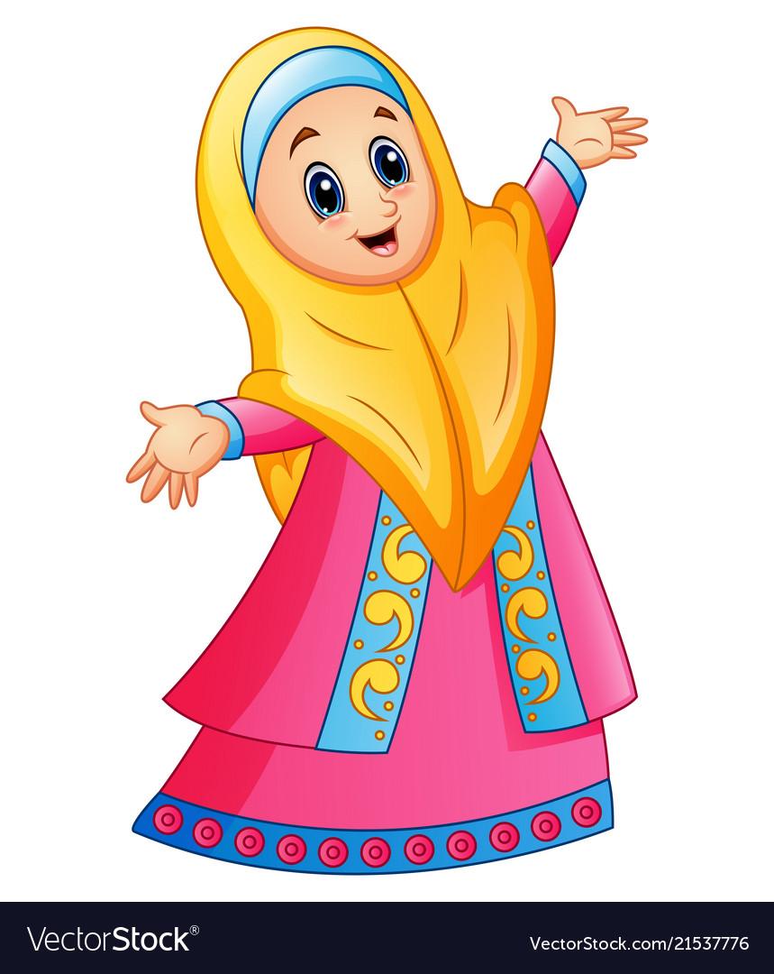 Muslim girl wearing yellow veil and pink dress pre