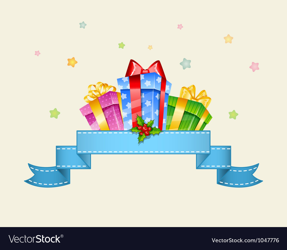 Presents with ribbon vector image