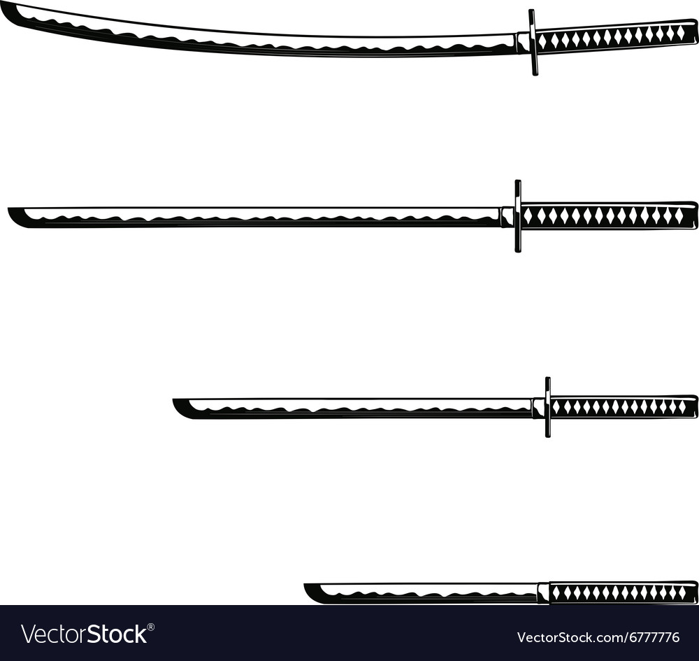 Samurai Swords isolated on white background vector image