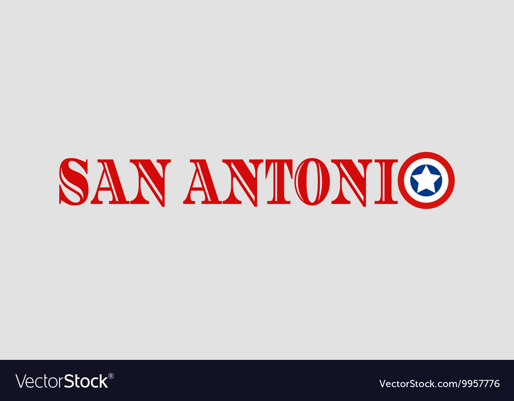 San Antonio city name with flag colors