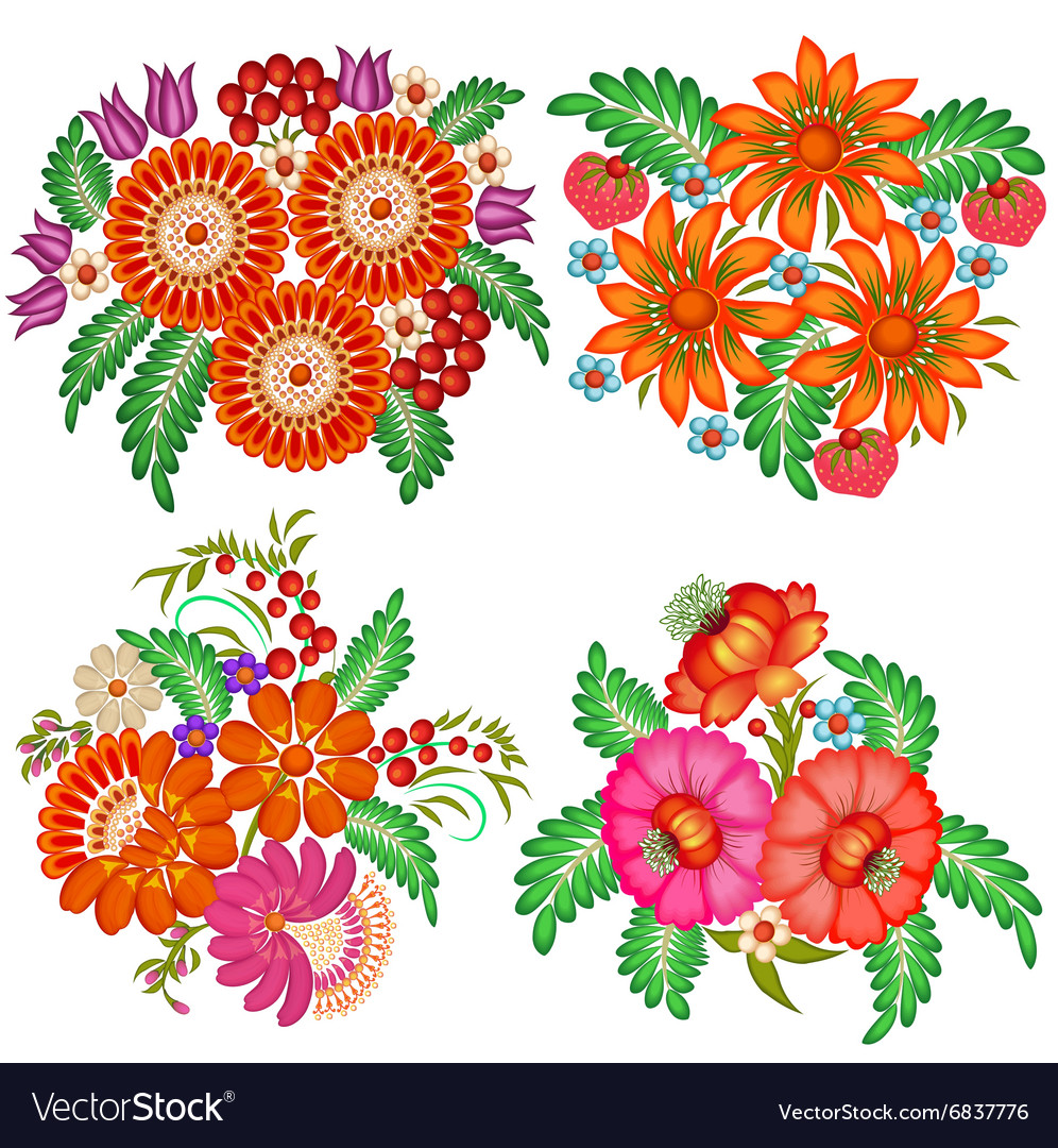 Set of hand-painted bouquets of flowers