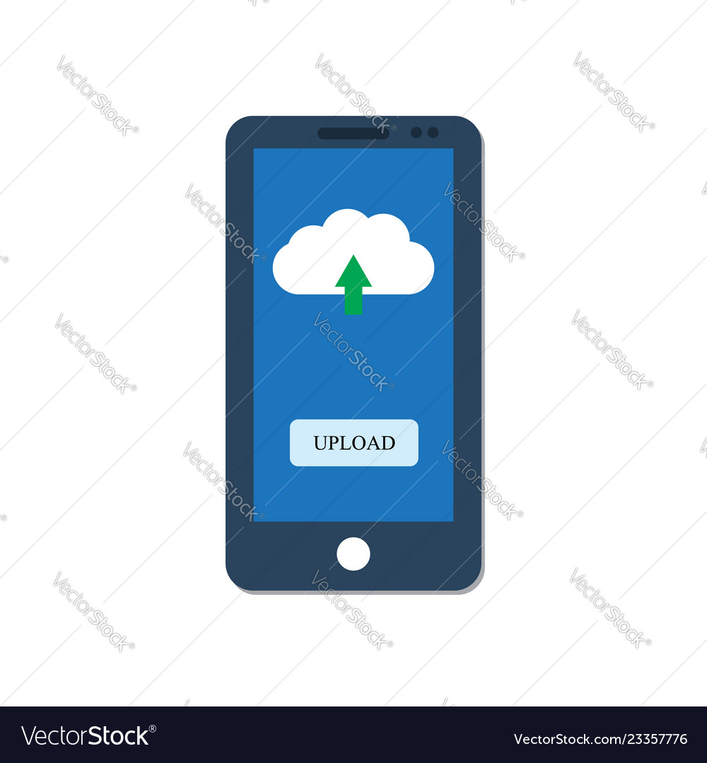 Smartphone with upload button on screen