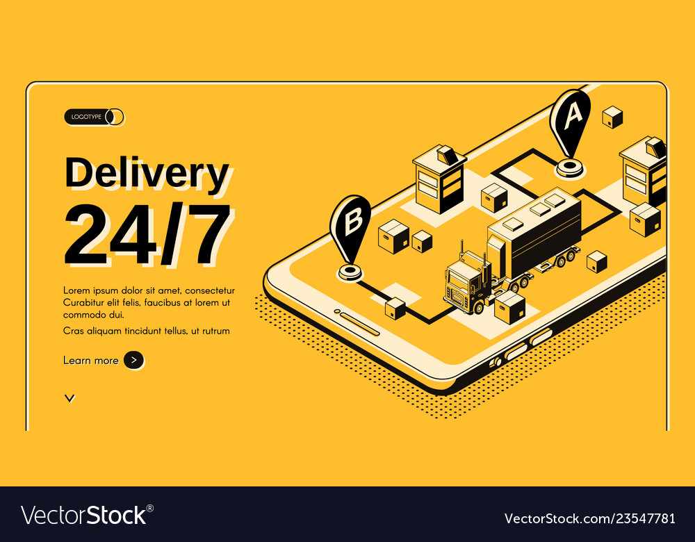 24-hour delivery service isometric website