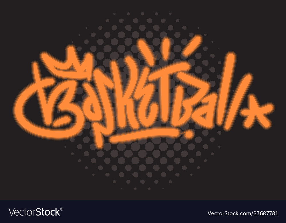 Basketball themed hand drawn brush lettering