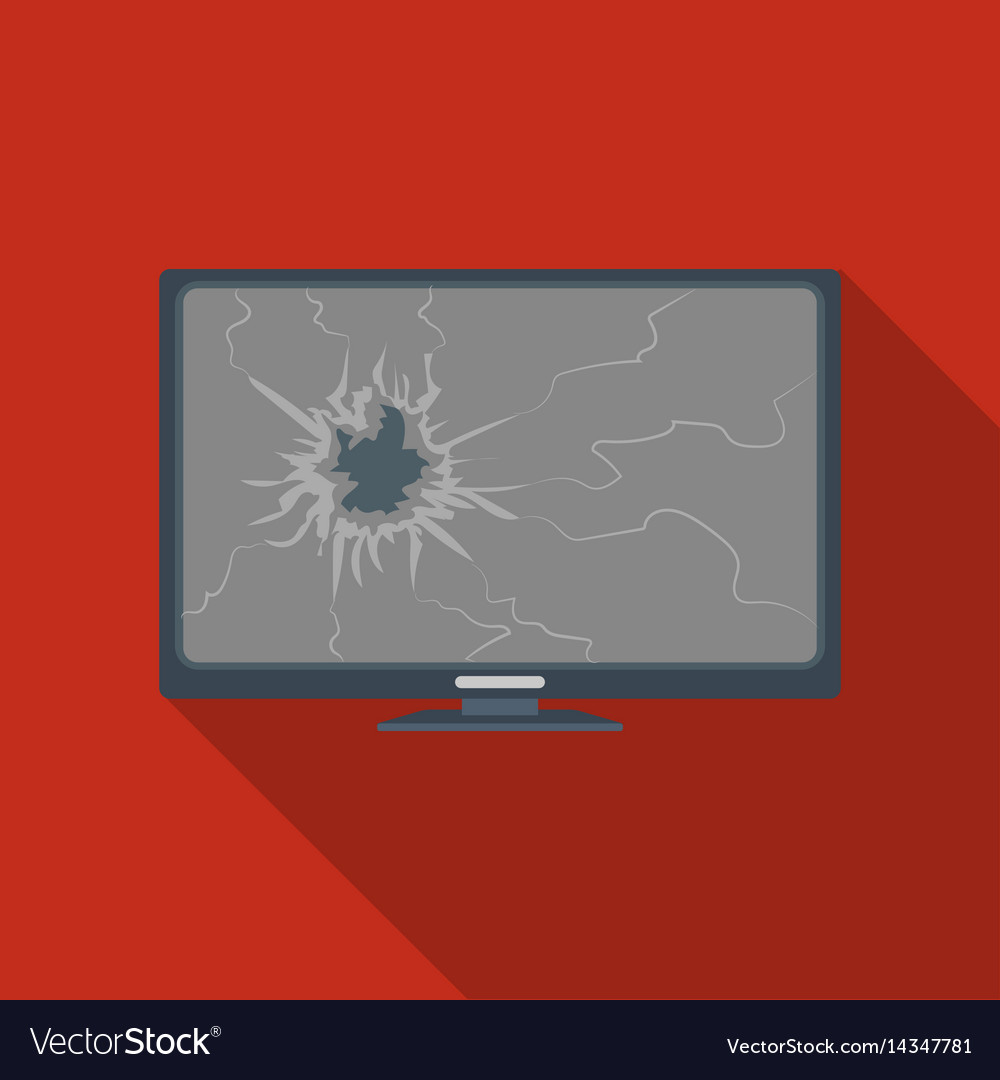 Broken television icon in flate style isolated on