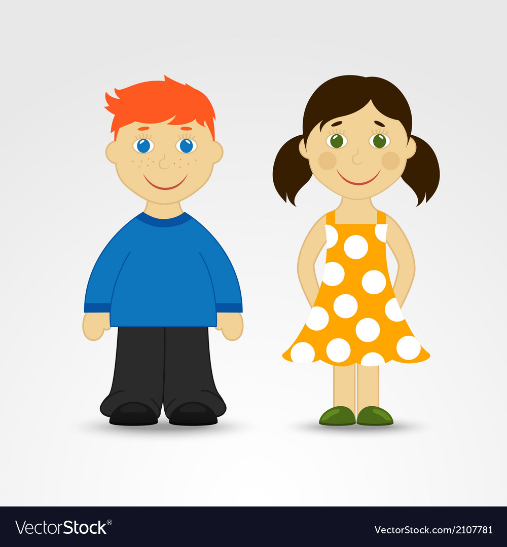 Cartoon boy and girl