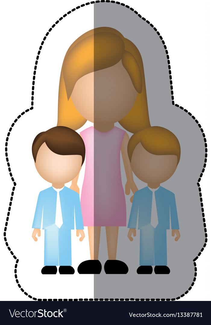 Color woman her boys twins icon