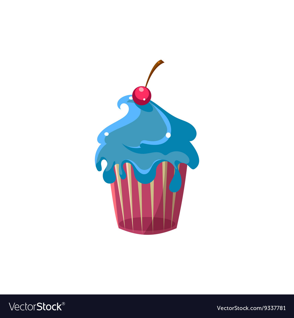 Cute Cupcake With Blue Icing