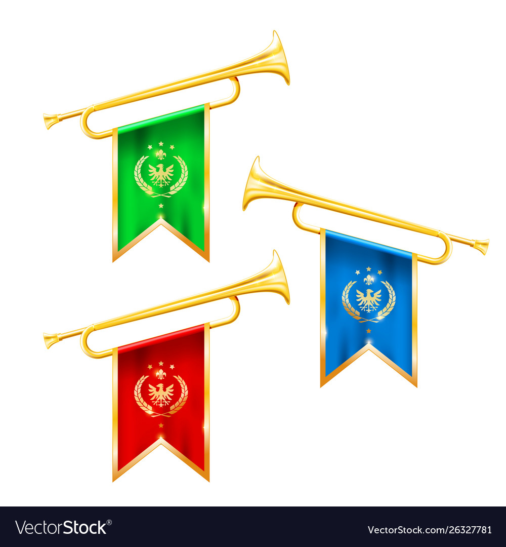 Fanfare trumpets with flags glory and fame symbol