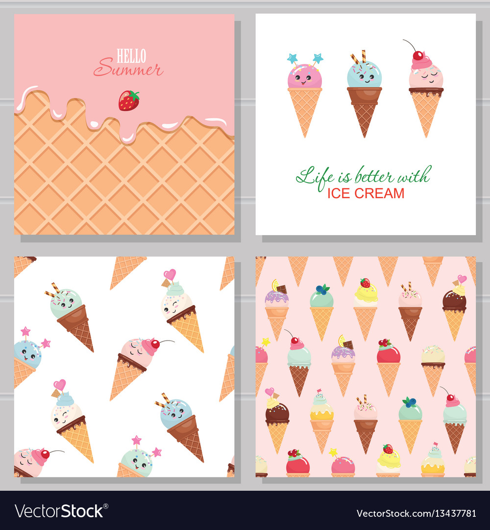 Ice cream cute cards and seamless pattern set
