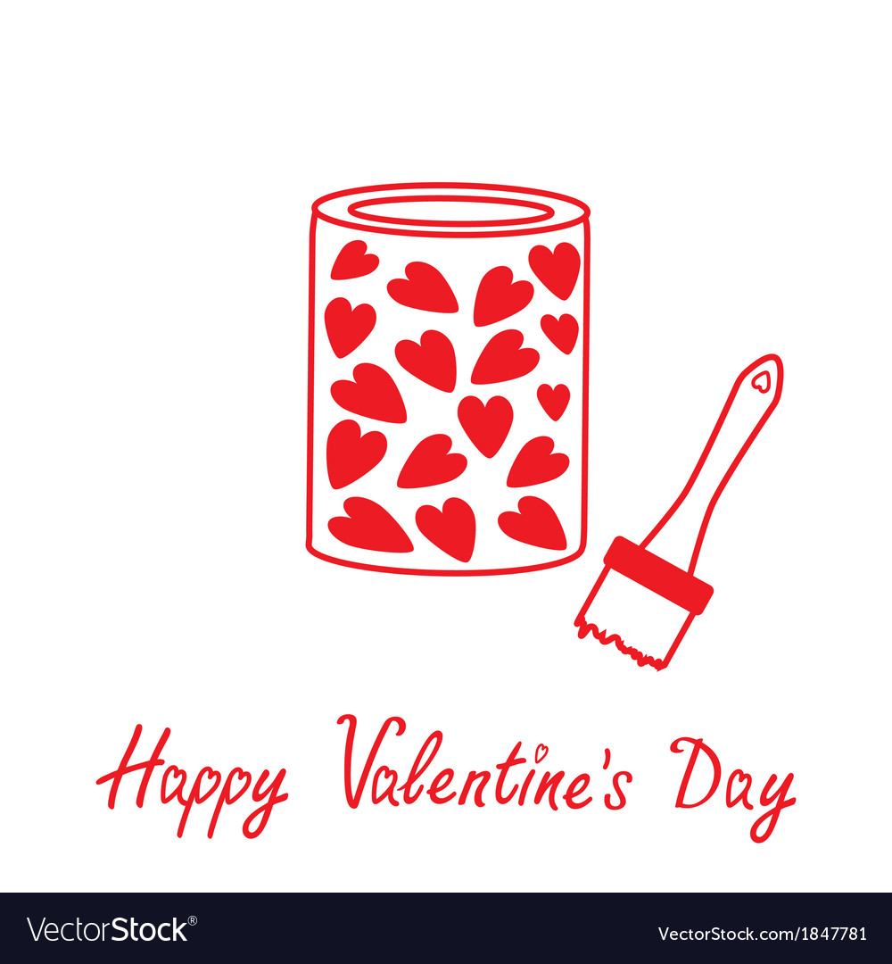 Love paint with hearts inside Happy Valentines Day