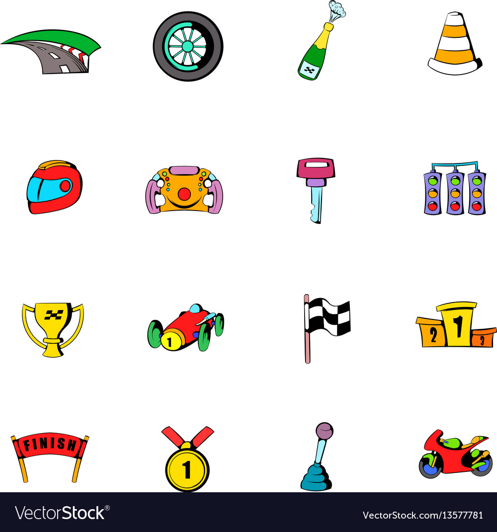 Race icons set cartoon