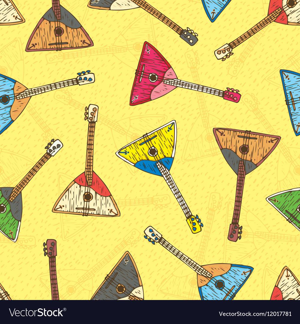 Seamless Pattern with Colorful Wooden Balalaikas