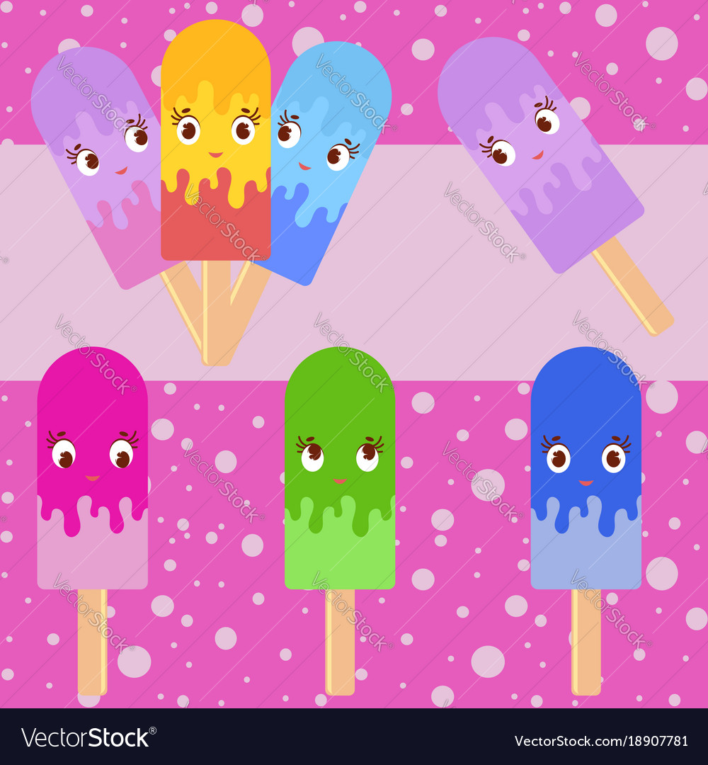 Set of flat colored isolated cartoon ice-cream