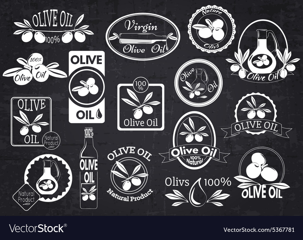 Set of olive oil labels badges and logos for