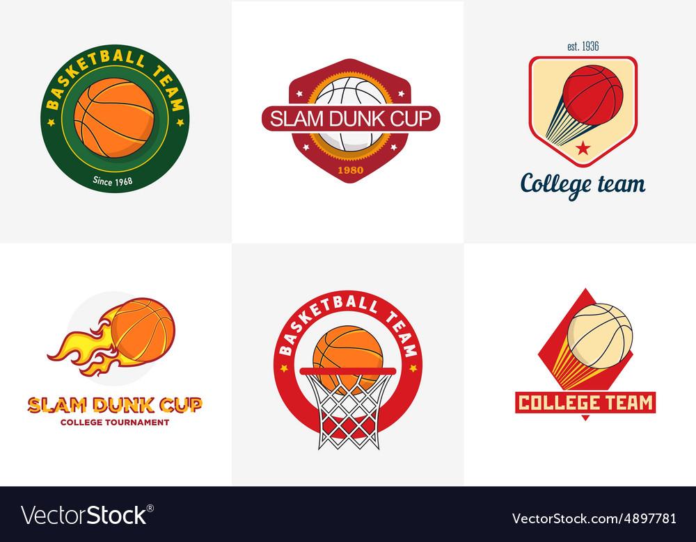 Set of vintage color basketball championship logos