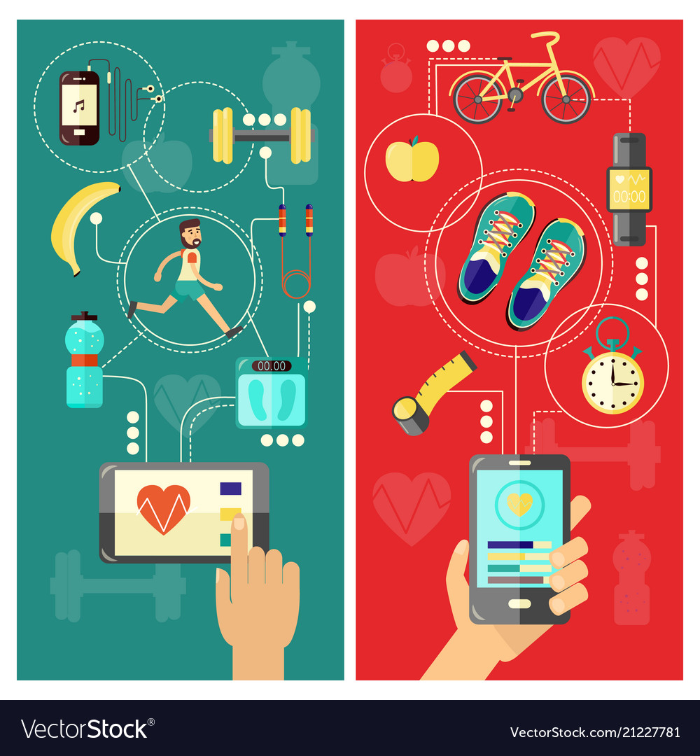 Sport and healthcare mobile app concept vertical