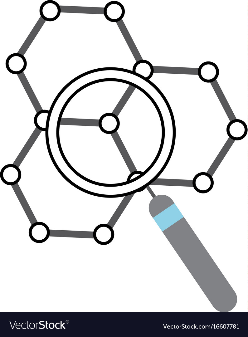 Structure molecular with magnifying glass