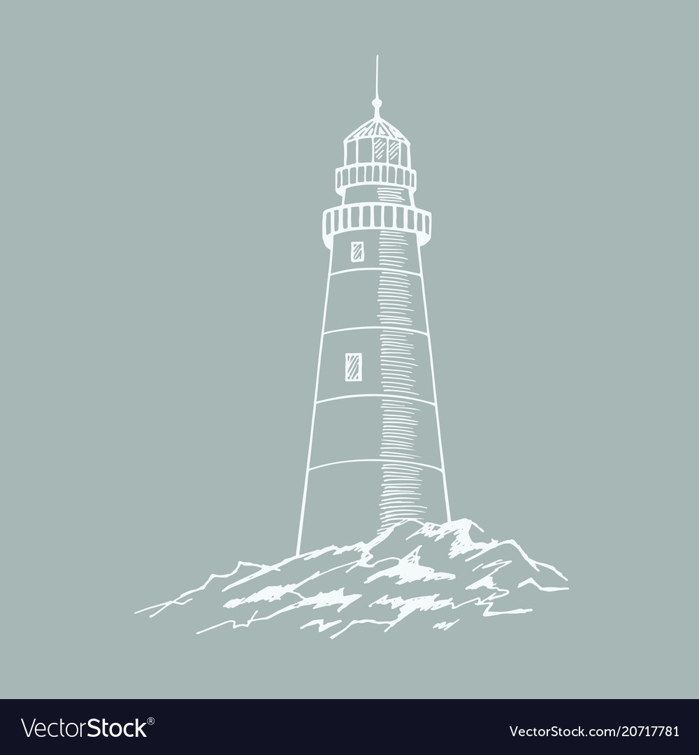 The lighthouse sketch hand drawn