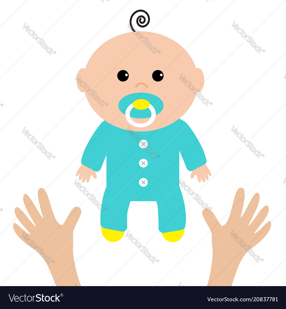 Two human hands mother care baby shower card its vector image