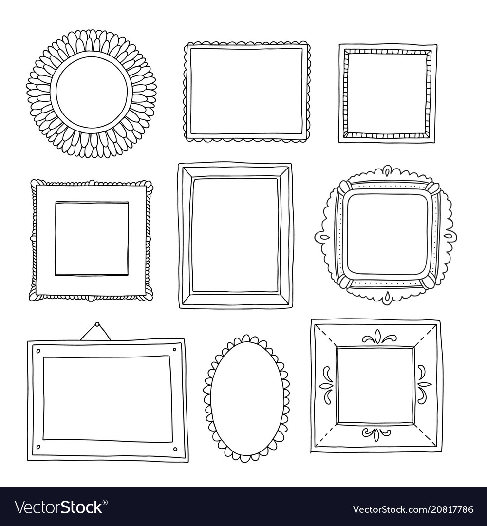 Beautiful template hand drawn frames