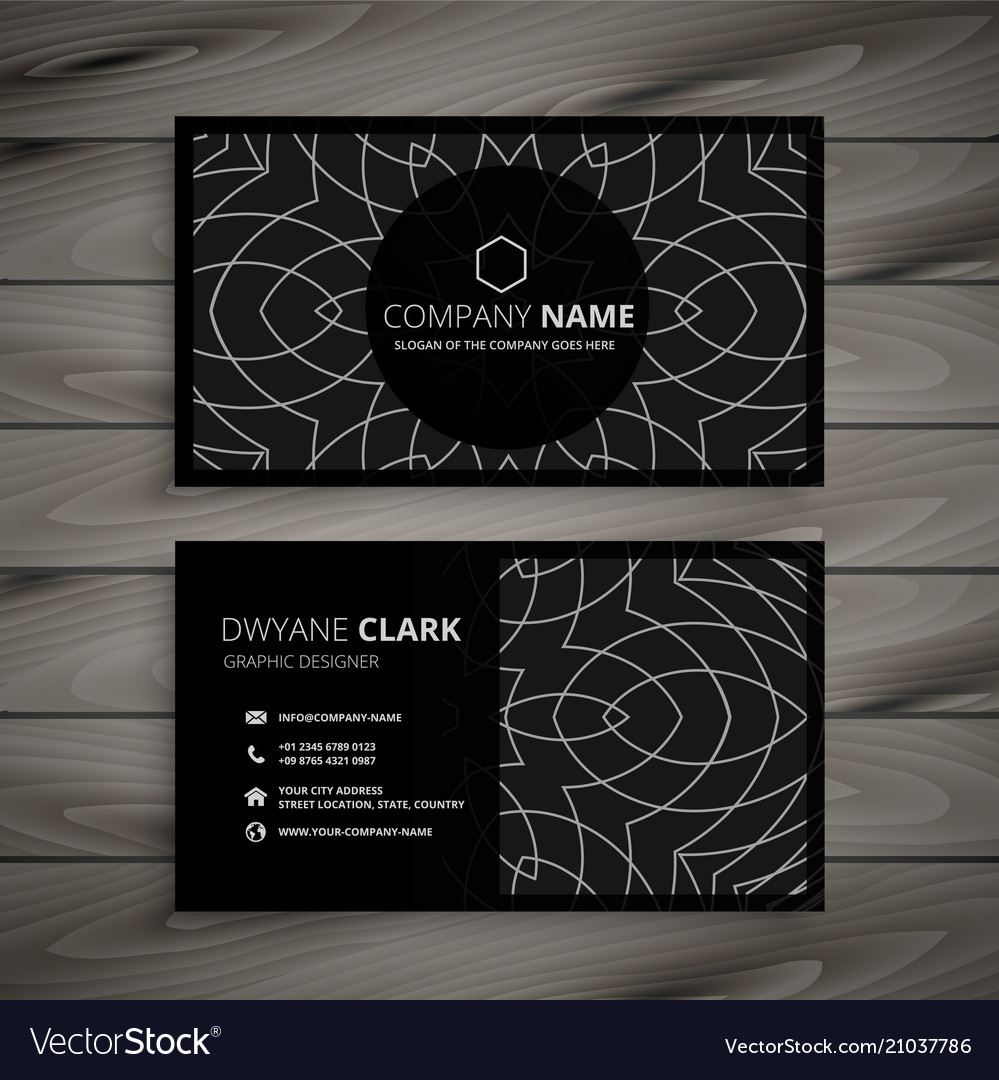 Black Professional Business Card Design Template Vector Image - Professional business card design templates