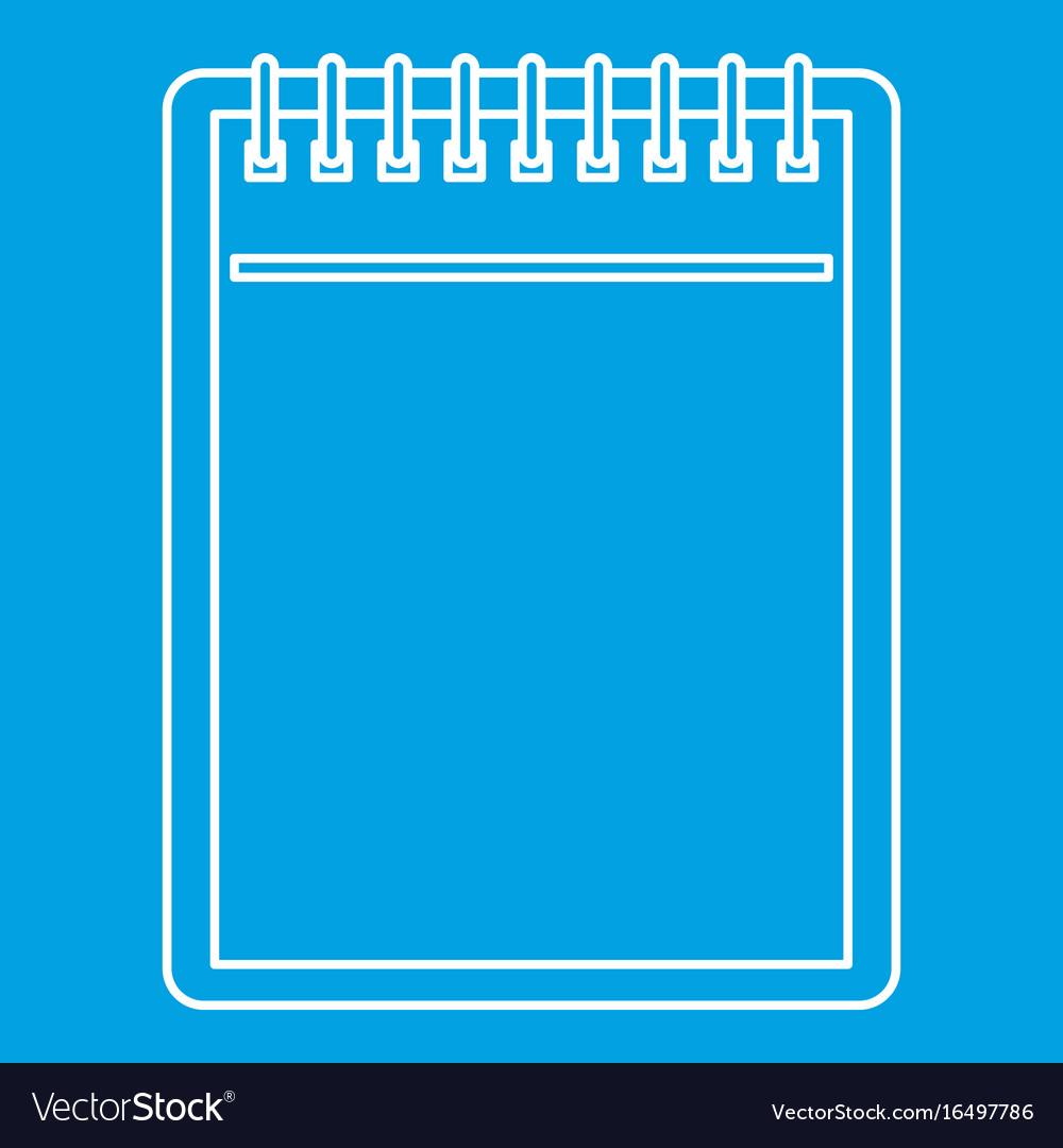 Blank spiral notepad icon outline vector image