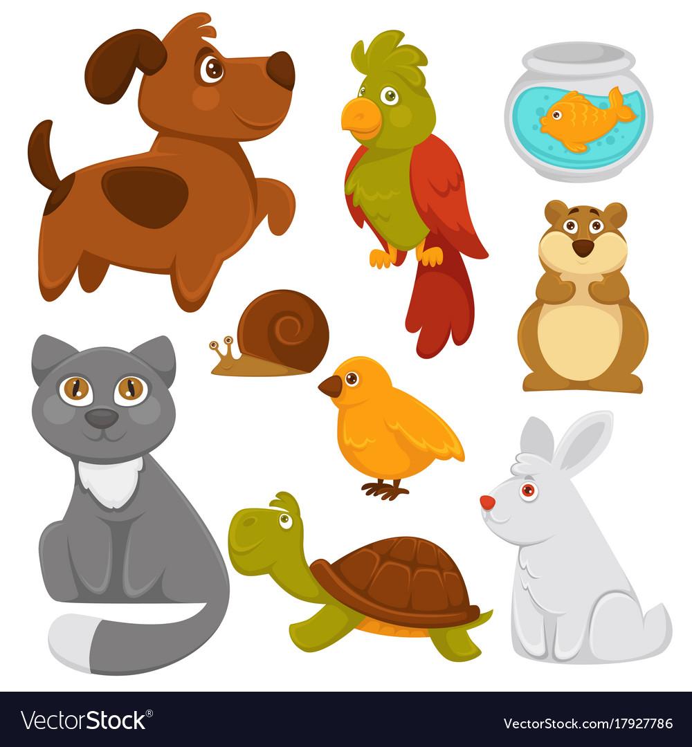 Cartoon pets domestic animals flat icons