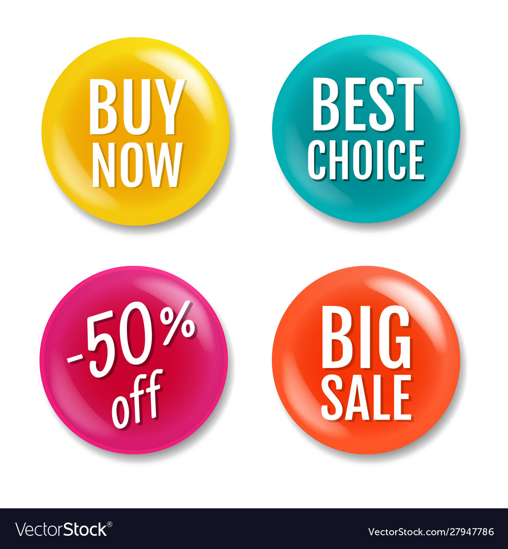 Colorful sale badge isolated white background